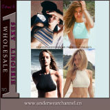 Wholesale Ladies Fashion Halter Bustier Crop T-Shirt Tops (25443)