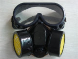 Double Chemical Respirator Mask with Safety Goggles Ht-5016