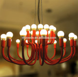 Modern European Iron Metal Art Decorative Rose Red Blossoming Flower E14 LED Chandelier