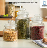 Food Grade 3PCS Vertical Stripes Glass Storage Jar with Seal Glass Lid