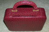 Vintage Travel Multi Red and Beige Jewelry Case with Handle and Clasp