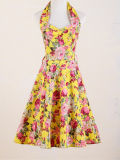 American Vintage Online Yellow Roses Printed Dresses Plus Size for Women