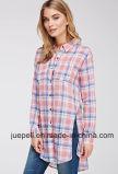 Chest Patch Pockets Long Sleeves Tartan Plaid Longline Women Shirt