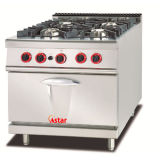 Commercial Kitchen Cooking Range with Four Stoves and Cabinets High Efficient Gas Range