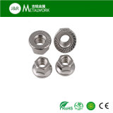 Stainless Steel SS304 SS316 Serrated Hex Flange Nut (DIN6923)