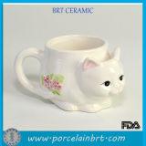 Lovely Cat Mug with Tea Bag Holder Flower Painted