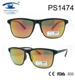 Square Shape Gold Lens Slim Temple PC Sunglasses (PS1474)