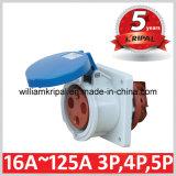 IP44 63A 2p+E 230V Single Phase Panel Mounted Socket