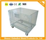 Customized Foldable Steel Wire Container/Storage Cage with Wheel for USA Market