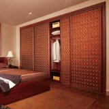 Oppein Classic Sliding PU Leather Wooden Wardrobe (YG11160)