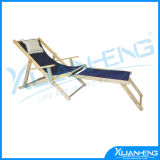 Wood Beach Chaise Lounger with Drink Holder with Pillow