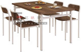 Canteen Table Furniture 4 Seaters Dining Table with Metal Frame