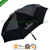 Black Vented Windproof Golf Umbrella for Advertising (GOL-0027FD)