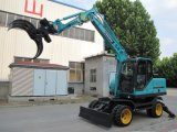 Solid Tyre Wheel Excavator with Grab for Catching Garbage, Scrap Metal