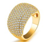 Hot Stunning Banquet Party Queen Wedding Fine Rings for Women and Ladies Full Inlay Cubic Zirconia Fashion Jewelry