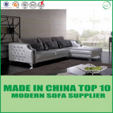 Fashion Stainless Steel Leg Leather Sofa with Crystal Button Decoration