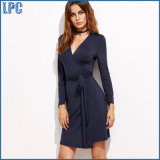 Blue Long Sleeve V - Collar Nylon Dress with Waist Belt