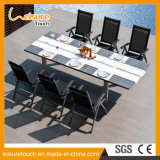 Six People Black Leisure Courtyard Aluminum Modern Chair Table Set Outdoor Garden Patio Furniture