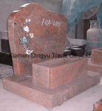 Ruby Red Granite Tombstone with Lily Flower