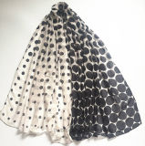 Classical Fashion Dots Printed Polyester Scarf with Degrading Effect (HW06)