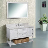 "48"" Solid Wood Marble Top White Bathroom Vanity Cabinet (ML-8508)"