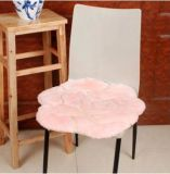 Soft Comfortable Sheepskin Chair Cushion with Flower Pattern
