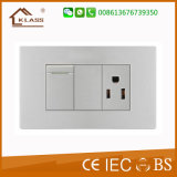 1gang 1way Electric Switch +3pole Wall Socket Easy to Use