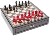 Chessmen & Seventh Avenue Carbon Fiber Chess Board/Box Two Drawers
