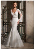 Lace Net Diamante Beaded Trim Long Sleeve Bridal Wedding Dresses (2701)