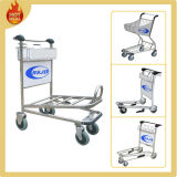 4 Wheels High Carrier Stainless Steel Airport Trolley with Brake