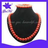 2013 Gus-En-005 Vogue Fashion Health Care Original Tourmaline Material Energy Necklace and Bracelet Sets for Women in Red Color