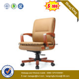 Solid Wood Foot Swivel Executive Leather Office Chair (NS-064B)