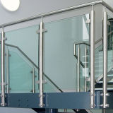 Best Sales Terrace Stainless Steel Tempered Glass Balustrade/Glass Railing with SUS304 Round Post/Baluster