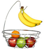 Chrome Wire Fruit Basket with Handing Banana Hook
