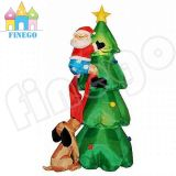 7meters Largest Inflatable Christmas Tree with Santa and Dog in Good Quality