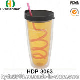 Wholesale 24oz BPA Free Plastic Juice Bottle, Customized Plastic Tumbler with Lid and Straw (HDP-3063)