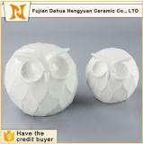 Unique White Round Shape Figurines Ceramic Owl