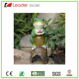 Polyresin Figurine Frog Figurine with Butterfly Solar Lights for Garden Decoration