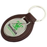Customized Soft Enamel Club Genuine Leather Keychain
