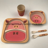 Eco-Friendly Bamboo Fiber Tableware Kids 5 Pieces Dinner Set with Plate Bowl Cup