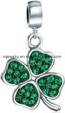 Silver Jewelry Green Clover Bead