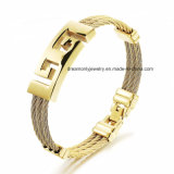 18k Gold Plated Stainless Steel Mens Cable Wire Bracelet