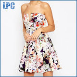 Fashion Beautiful Floral Sublimation Evening Dress with V-Plunge Neck