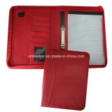 Red A4 Zip Leather Ring Binder with Notepad