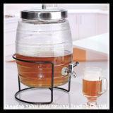 8L Beer Glass Storage Barrel with Faucet / Glass Beverage Dispenser