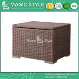 Patio Rattan Side Table with Storage Outdoor Wicker Chest (Magic Style)