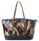 Simple & Practical Women′s Printing Patent Canvas Tote Handbag (FF)