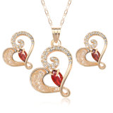 Ladies Wedding Crystal Necklace Earring Heart Shaped 18K Gold Plated Jewelry Set
