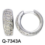 Fashion Jewelry 925 Sterling Silver Rhodium Huggies (Q-7343A)