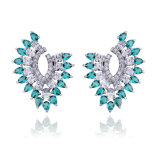 Colors Quality White Gold Plated Zirconia Earring Charm Jewellery